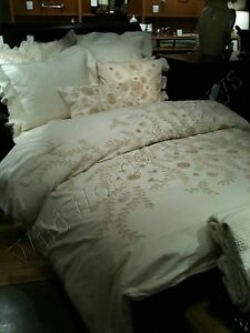 Pottery Barn Fiori Embroidered Duvet Cover Queen Crewel