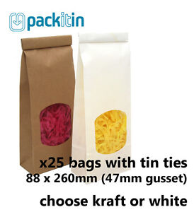 x25-SMALL-Kraft-Brown-or-White-Gusset-Window-Bags-with-tin-tie-250g-size