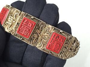 antikes - Art Deco - Silber Armband mit Rotlack Glücks Symbole, um 1930 Asiatika