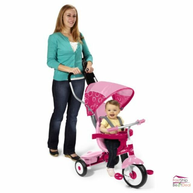 Radio Flyer Tricycle 4 in 1 Trike Pink Kid Toddler Bike Ride On Girl Outdoor Toy