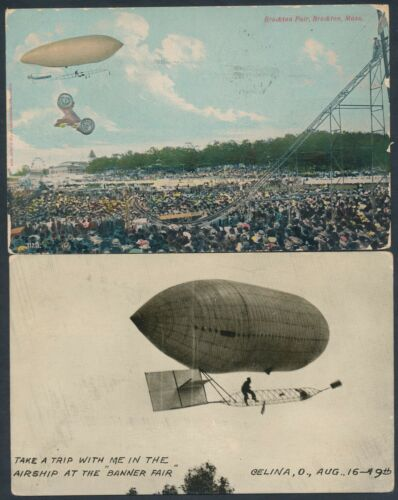 2 DIFFERENT PIONEER ZEPPELIN POSTCARDS 1907 & 1910 BT7508