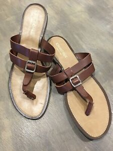 52cace4f2de Romano Palai Brown Leather Double T Strap Sandals Made In Italy ...