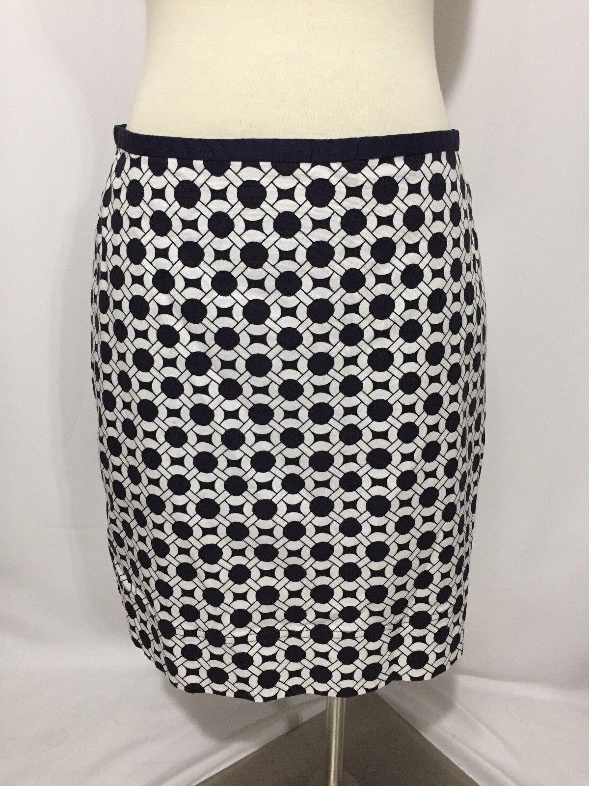Talbots Navy bluee White Geometric Chain Print Pencil Skirt 8 Excellent