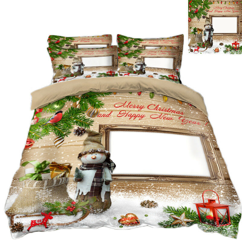 3D Christmas Xmas Window 8 Bed Pillowcases Quilt Duvet Cover Set Single Queen UK