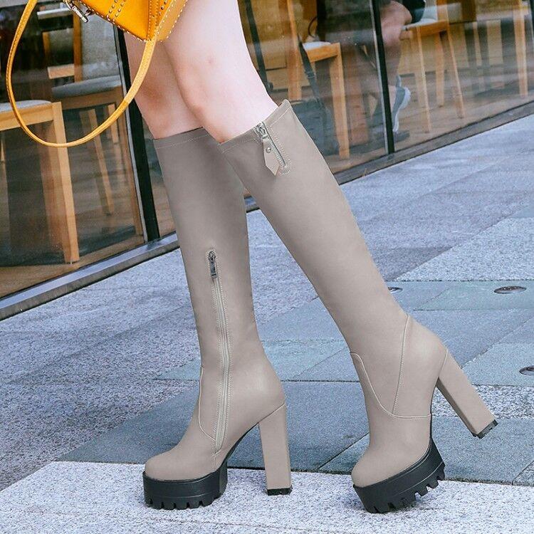 Fashion Donna Pelle Knee High Stivali Block Chunky High Heels Platform Shoes