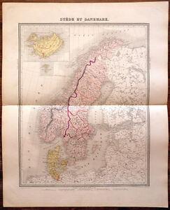 Carte SCANDINAVIE -1874. 43 x 53 cm. - Suède - Norvège - Danemark - Islande uv0OOiKH-08064944-412849847
