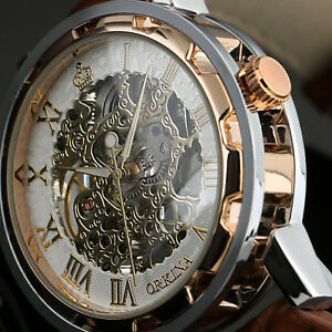 Mens-Hand-winding-Mechanical-Watch-Silver-Case-Rose-Golden-Leather-Strap-Luxury
