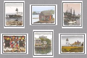 6-Assorted-Maine-Coast-Blank-Note-Greeting-Cards-Lighthouse-Boat-Lobster-Buoy