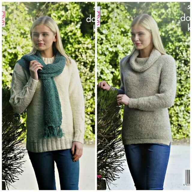 4c566bbf73965b KNITTING PATTERN Ladies Cowl Neck or Round Neck Jumper   Scarf DK King Cole  5253