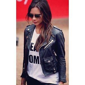 pour cuir Veste femme motard de slimfit bnwt Beckham en Victoria noire moto wzxq5YnnBa