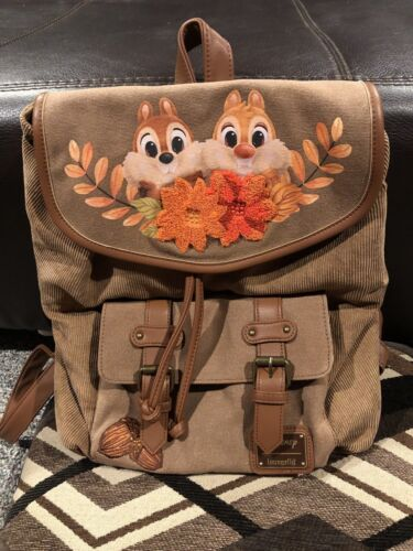 Details about  /Beautiful Loungefly Disney Chip /'n Dale Chipmunks Fall Leaves Backpack Rucksack