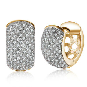 Gold-Plated-Two-Tone-amp-Swarovski-Crystal-Heart-Cut-Out-Basket-Hoop-Earrings