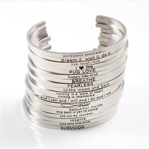 Image Is Loading Mix Engraved Positive Inspirational Quote Cuff Mantra Bracelets