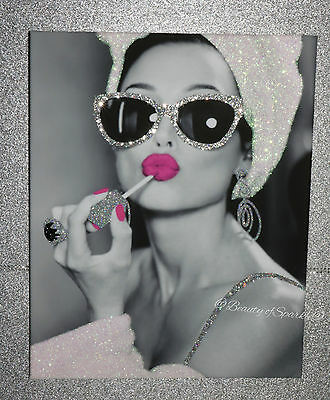 """Hepburn Glitter Art picture Framed or Canvas! Girls Night In"""" A"""