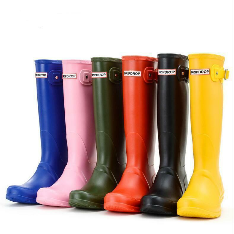 Fashion Women candy color girls british knee high rain boots pull on waterproof