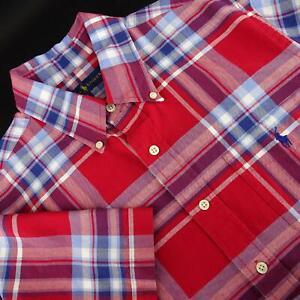 Mens-Polo-Ralph-Lauren-Red-Big-Plaid-Button-Down-Shirt-Size-Large-L-Short-Sleeve