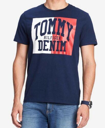 Tommy Hilfiger Men/'s Navy Logo Graphic Crew-Neck Short Sleeve T-Shirt