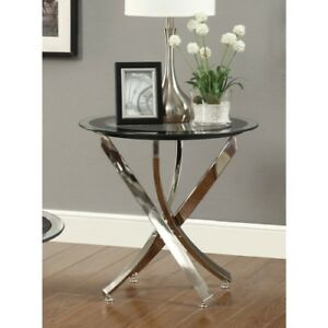 New Modern Chrome Black Glass Accent Side Table Furniture Sofa