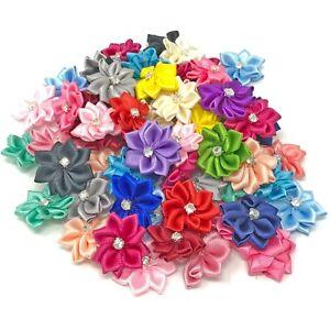 Fuchsia Satin Ribbon Flowers with Rhinestone Diamante Centre 25mm Craft Flower