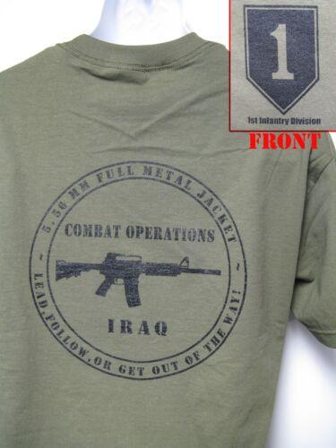 1ST INFANTRY DIVISION T-SHIRT// IRAQ COMBAT OPERATION T-SHIRT// VETERAN// NEW