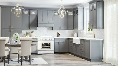 Rta Wood 10x10 Modern Shaker Grey Kitchen Cabinets Dark Gray Lifetime Warranty Ebay