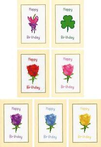 Happy-Birthday-Cross-Stitch-A6-Flower-Card-Kit-Fuchsia-Rose-Shamrock-14-Count
