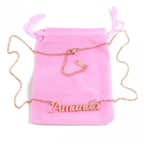 AMANDA Name Necklace Stainless Steel 18ct Rose Gold PlatedGifts For Her