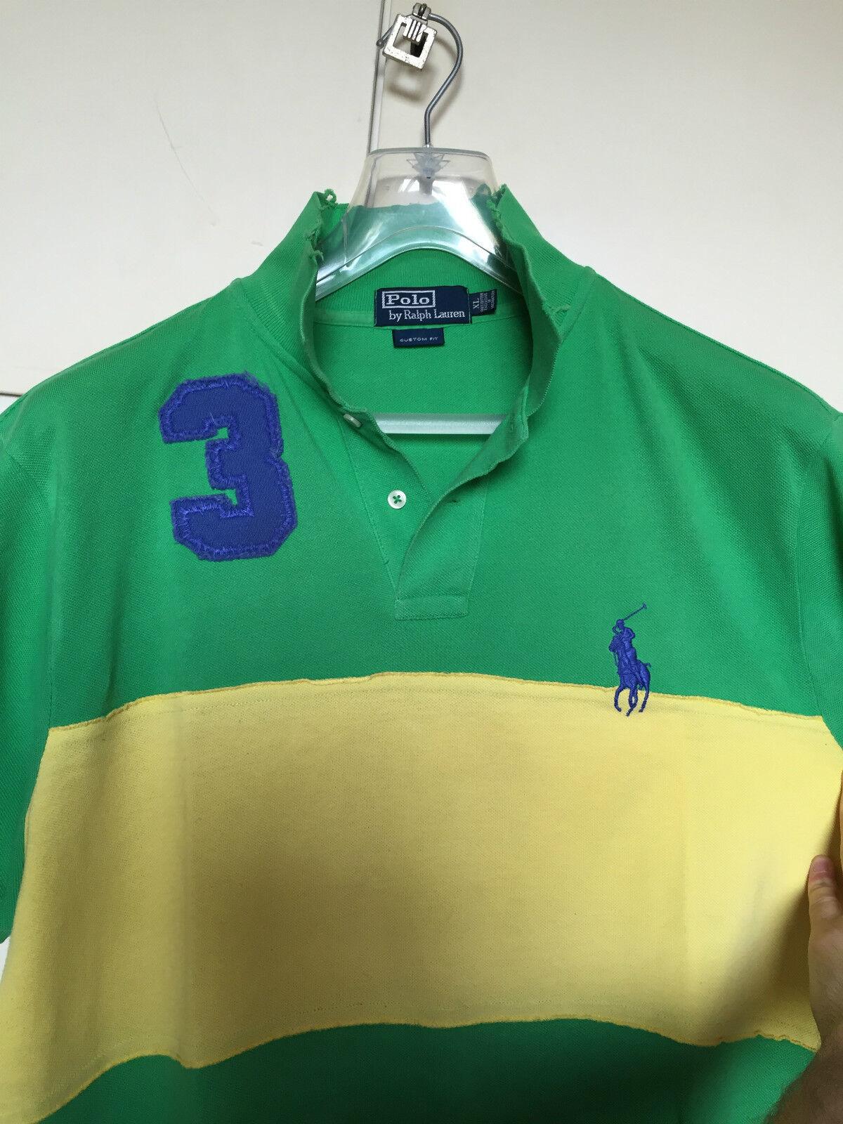 Maglia polo uomo POLO POLO POLO RALPH LAUREN verde e gialla tg. XL custom fit big pony blu 207810