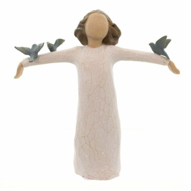 Willow Tree Happiness Figurine Freedom Birds Resin Keepsake Ornament Gift Box