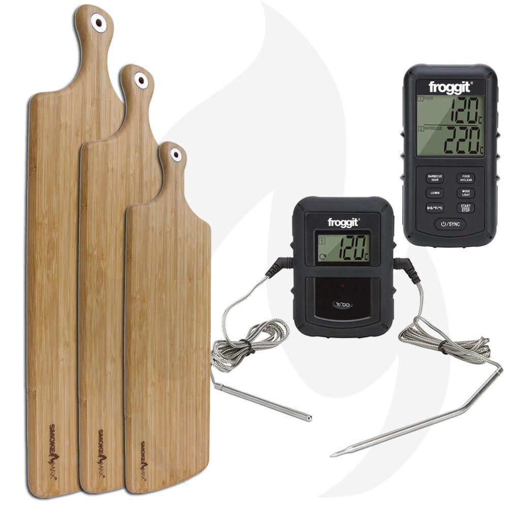 Smokemax pro parrilla termómetro + servierbrett Design brett tabla para cortar bambú