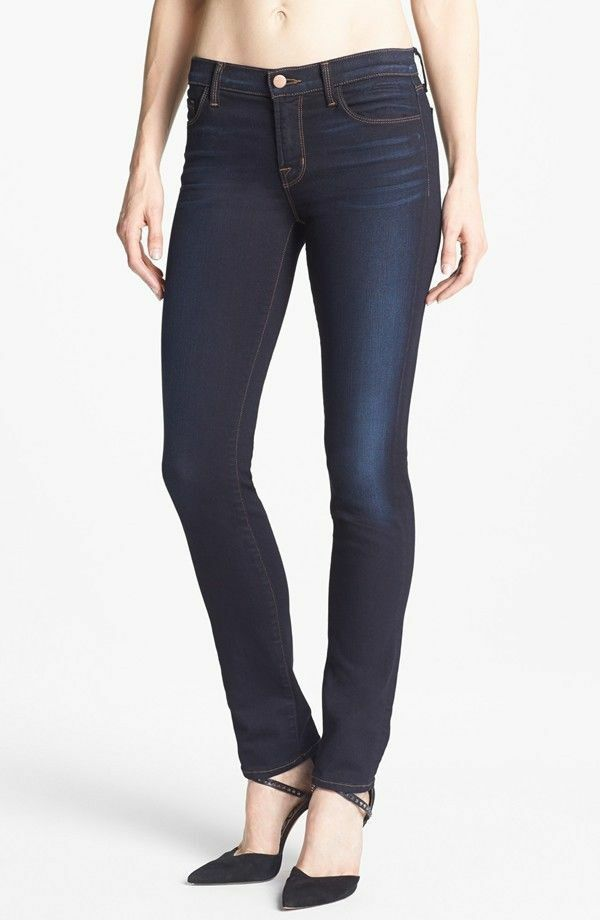J Brand 8112 Atlantis Dark Wash Mid-Rise Rail Skinny Stretch Fit Jeans Size 27