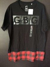 New Size XXLarge G by Guess Elongated GBG Black/Red Plaid T Shirt