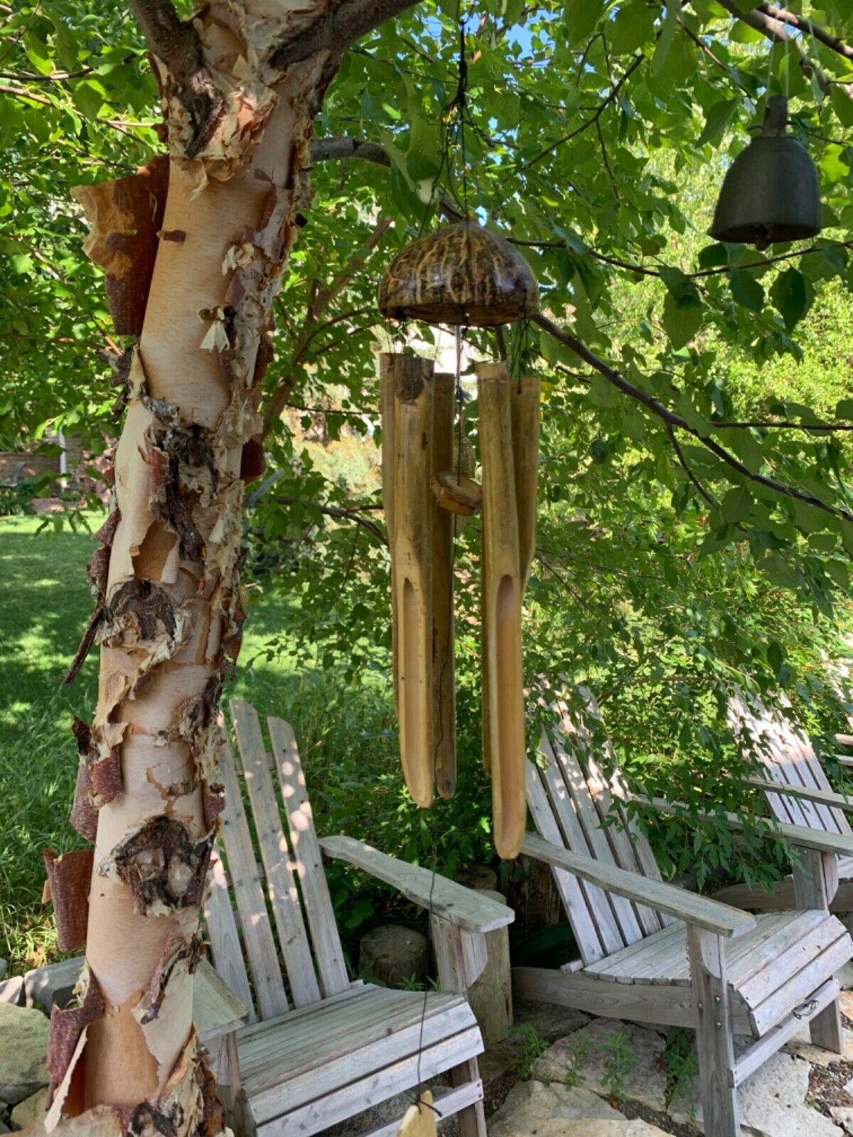 Medium Stained Bamboo Wind Chimes Ship free from USA