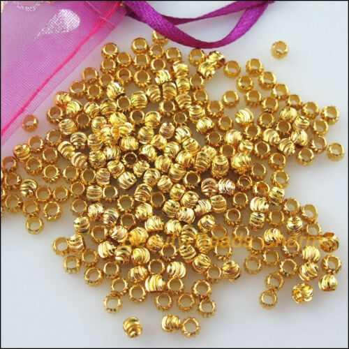 45Pcs Gold Plated Loose Pumpkin Ball Copper Spacer Beads Charms 4mm
