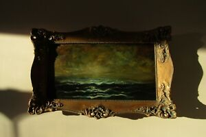 Large-Original-Oil-Painting-On-Canvas-Baroque-Framed-034-Storm-Wave-Ocean-Sea-034