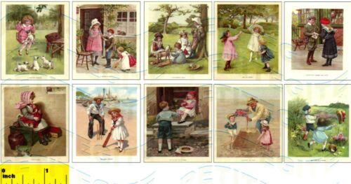 DOLLSHOUSE Miniature  Vintage Children 1900  Picture Print Set CDHM 1:12