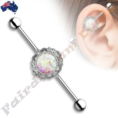 Surgical Steel Silver Ion Plated Industrial Barbell with Opal Filigree Centre