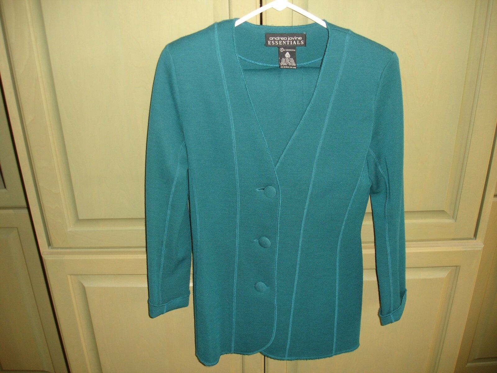 ANDREA JOVINE ESSENTIALS Size S  2pc Teal Knit Pants Set  Pure Virgin Wool