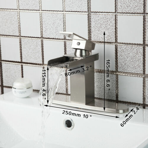 Brushed Nickel Waterfall Faucet Brass Bathroom Basin Sink Mixer Tap+Cover Plate