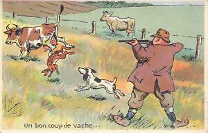 Carte postale humoristique humour chasse chasseur coup de vache li vre ebay - Photo de vache drole ...