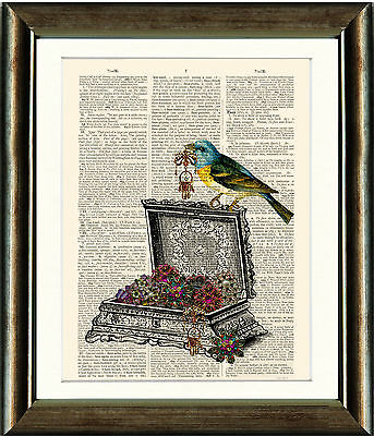Old Antique Dictionary page Art Print - Bird and Jewelry Box Upcycled page Print