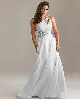 One Shoulder Chiffon Evening Formal Party Ball Gown Prom Bridesmaid Dress6 -16