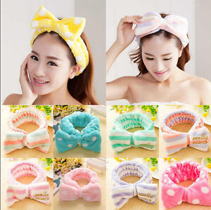 91763cf40f5 Big Bow Dot Striped Soft Hair Band Head Wrap Headband Bath Spa ...