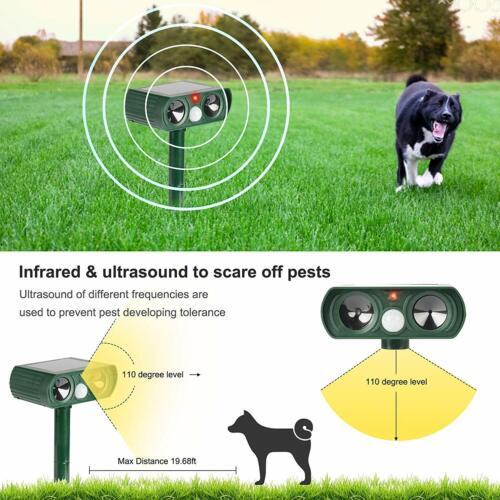 Ultrasonic Animal Repeller Solar Powered Outdoor Pest Cat Mice Fox Deer Sensor