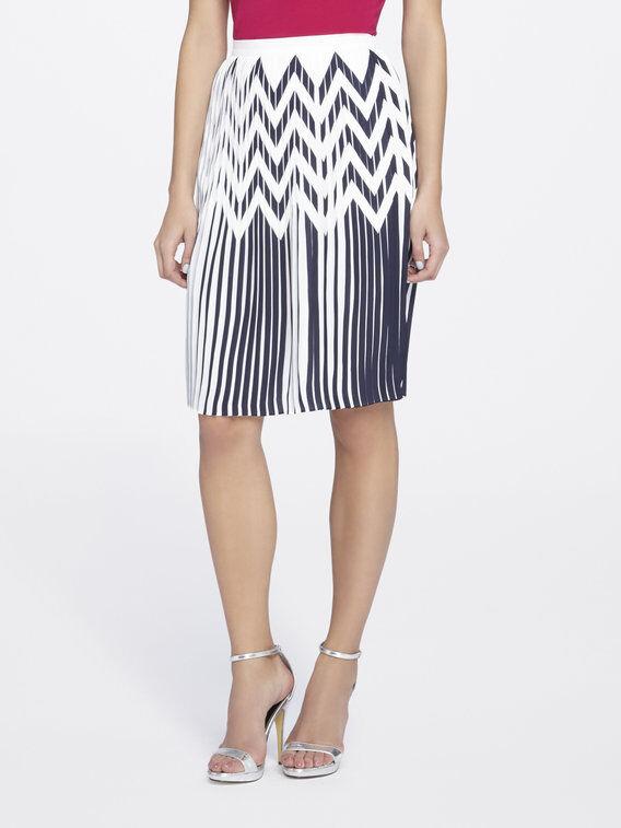 Tahari By ASL NEW bluee Womens Size 8 Chevron Print Pleated Skirt  89
