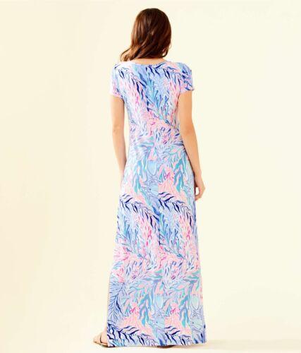 NWT LILLY PULITZER WYNNE MAXI DRESS CREW BLUE IT KALEIDOSCOPE CORAL XS,XL