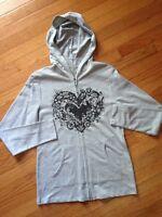 Vintage Suzie Long Sleeve Full Zip Hoodie In Heather Gray Sz S