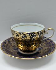 Beautiful!! Cobalt Blue with Gold Flower Aynsley Tea Cup and Saucer