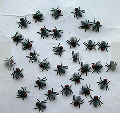 20X Mini Black Green Fake Fly HALLOWEEN Insects Joke Toy Prank Scary Trick NEW
