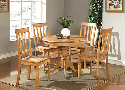 5PC DINETTE KITCHEN DINING SET TABLE WITH 4 PLAIN WOOD SEAT CHAIRS, LIGHT  OAK | eBay
